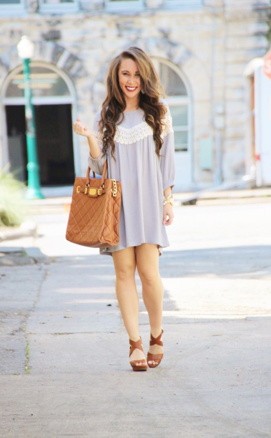 Lace Shift Dress, Jessica Simpson Wedges, Pearls