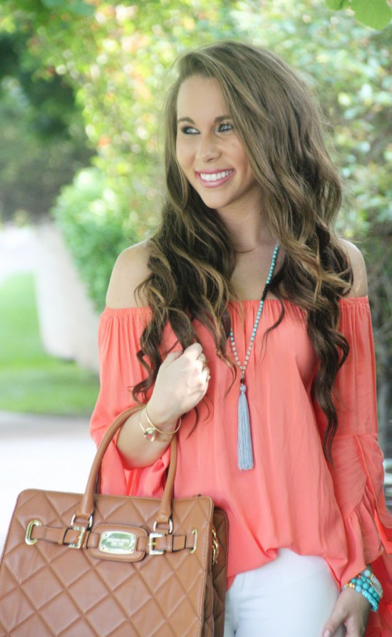 Off Shoulder Ruffle Top, Paige Denim, Tassel Necklace, Michael Kors Hamilton Handbag