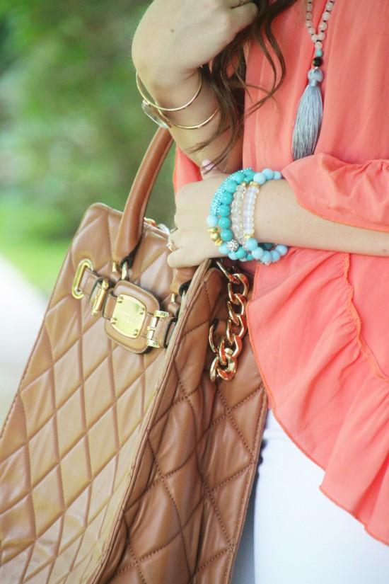 Off Shoulder Ruffle Top, Paige Denim, Tassel Necklace, Michael Kors Hamilton Handbag