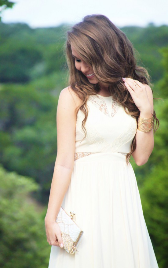 Ivory Bridesmaid Dress, Pearl Beaded Clutch