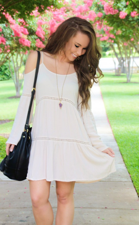 Off Shoulder Dress, Arrow Necklace, Michael Kors Watch, Druzy Bracelet, Kendra Scott Earrings, Jessica Simpson Wedges, Banana Republic Bucket Bag