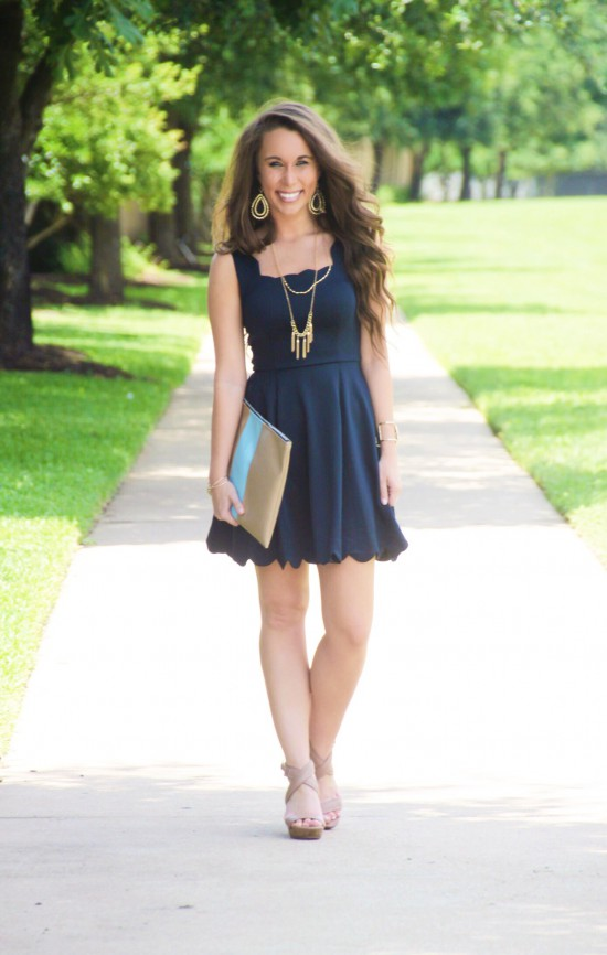 Scallop Dress from the Mint Julep Boutique, Striped Clutch, Sole Society Wedges, Tassel Necklace, Midi Ring