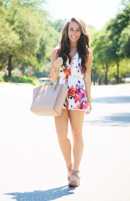 Floral Ruffle Romper, Studded Handbag, Sole Society Wedges, Kendra Scott Earrings, Express Cuff, Michael Kors Watch