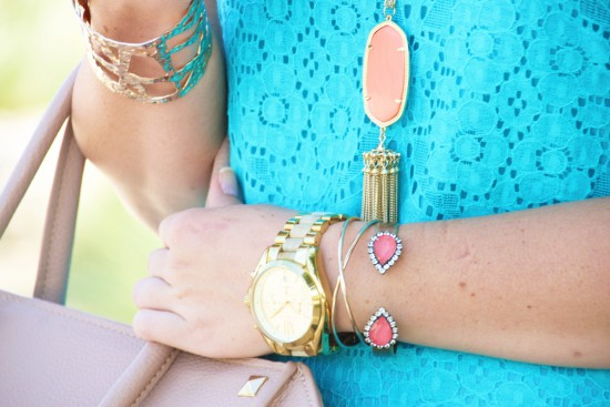 Everly Lace Shift Dress, Kendra Scott Rayne Necklace, Loren Hope Sarra Cuff, Sole Society Wedges, Studded Bag, Michael Kors Watch, Express Cuff, Kendra Scott Earrings