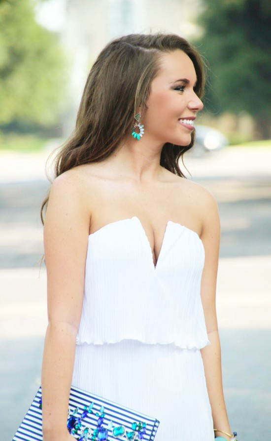 White Maxi E's Closet, Chloe & Isabel Earrings and Ring, Express Embellished Clutch, Bangles
