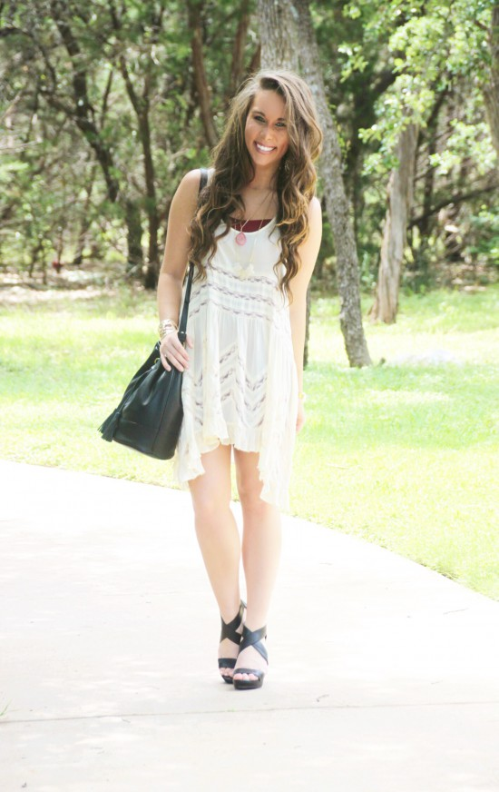 Free People Trapeze Tunic Dress, Banana Republic Bucket Bag, Druzy Necklace, Nordstrom Jessica Simpson Wedges, Kendra Scott Earrings