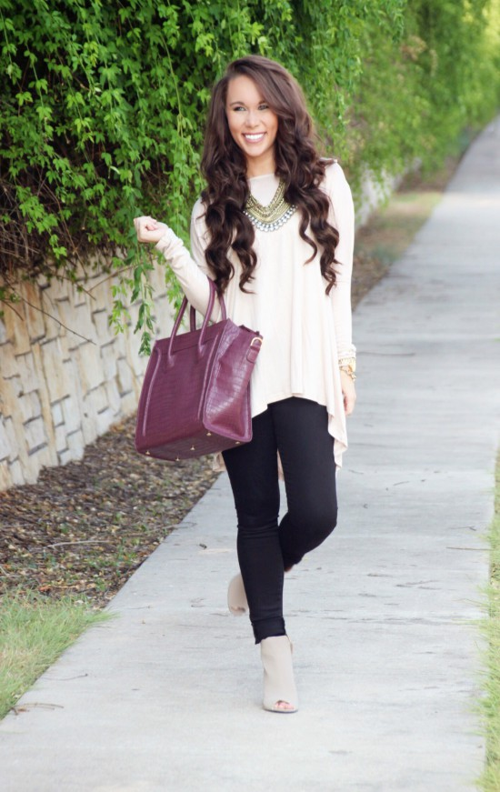 open back tunic, paige denim, booties, statement necklace