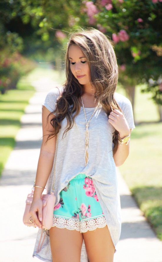 Tunic Tee, Floral Lace Shorts, Rebecca Minkoff Mini Mac, Tassel Necklace, Sole Society Wedges,, Kendra Scott Earrings