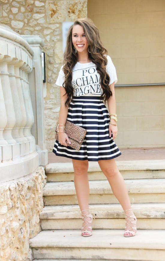 Pop Champagne Tee, Striped Chicwish Skirt, Leopard Foldover clutch, steve madden heels