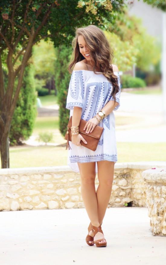 off shoulder embroidered dress, fold over clutch, nordstrom wedges