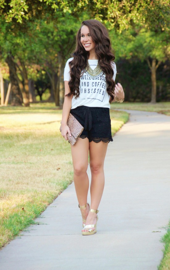 graphic tee, lace shorts, baublebar necklace, leopard clutch, michael antonio wedges