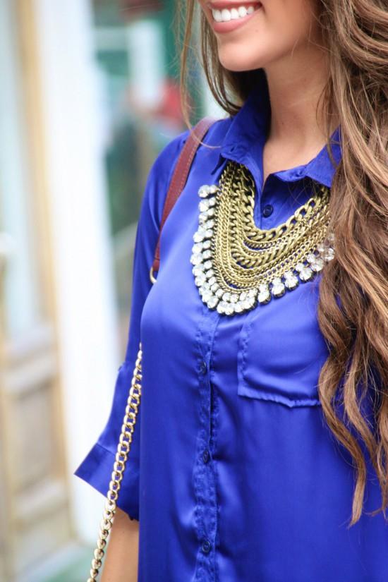 Statement Necklace, Pocket Shirtdress, Michael Antonio Wedges, Rebecca Minkoff Love Crossbody