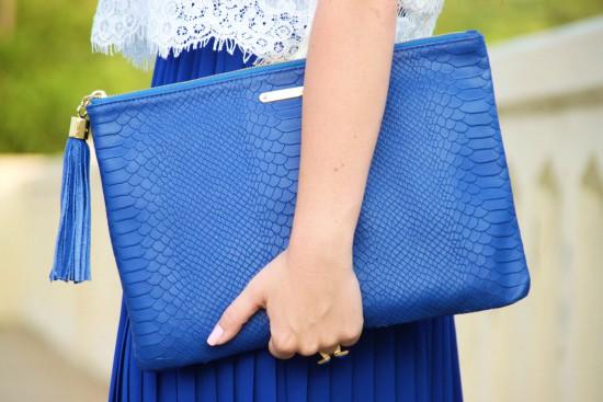 Maxi Skirt, Lace MINKPINK Crop Top, Ragazza Jewelry Necklace, GiGi New York Clutch